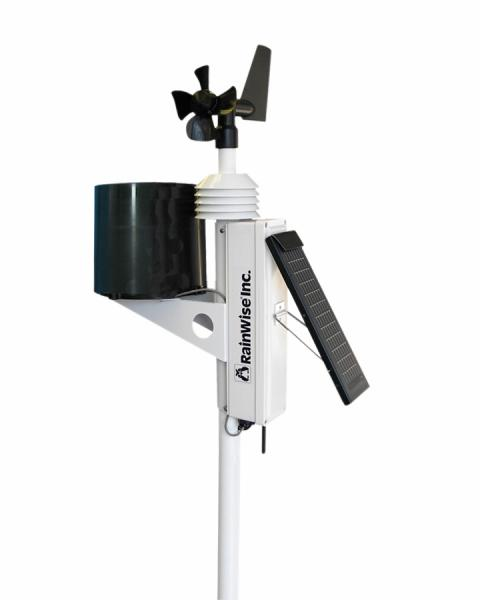 A close-up of the Rainwise MK-III-LR weather station. It is solar powered and transmits directly to an internet-connected receiver.