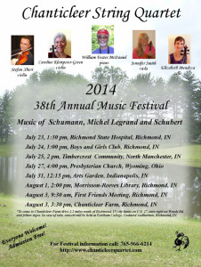 The flyer for the 2014 summer concert series put on by the Chanticleer String Quartet